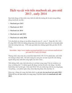 Dịch vụ cài win trên macbook air, pro mid 2013 , early 2014 tại tphcm giá rẻ by Nguyen Khanh via slideshare