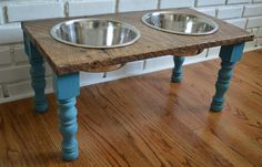 Reclaimed Wood Feeding Stand ❤ the colour of the legs