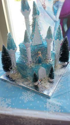 Granddaughter Frozen Castle Cake.