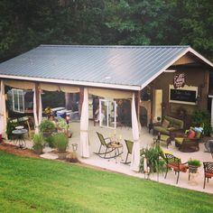 Backyard Shed for gatherings or parties! 'Callahan Country Shed' #backyardshed