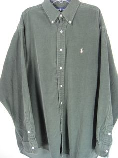 Ralph Lauren Men Long Sleeve Button-Front Corduroy Shirt size L Green #RalphLauren #ButtonFront