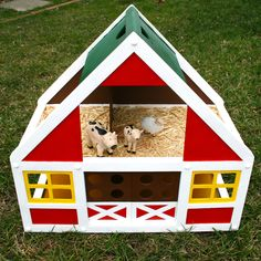 Thrift store dollhouse gets a new life for as a little boy's barn.  Check it out on ImagineOurLife.com.