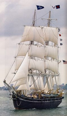 The Bark Charles W. Morgan. The oldest surviving square-rigged American merchantman in the summer of 2014, her 38th voyage. She was built in 1841.