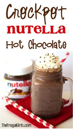 Crockpot Nutella Hot Chocolate Recipe from TheFrugalGirls.com #chocolates #sweet #yummy #delicious #food #chocolaterecipes #choco #chocolate