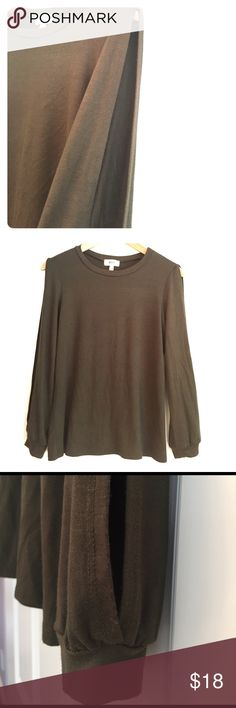 Split Sleeve Long Sleeve Tee Army green Rayon/Spandex drapey jersey top with slit down both sleeves. A different take on the cold shoulder look. Tops Tees - Long Sleeve