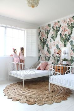 Cactus Inspired Shared Room For Sisters // Adorable White Metal . Cactus inspired shared room for sisters // adorable white metal beds and The decoration of home is much like an exhibiti. Kids Bedroom Designs, Kids Room Design, Bed Designs, White Metal Bed, Shared Rooms, Shared Room Girls, Teen Shared Bedroom, Ikea Girls Room, Ikea Kids Bedroom