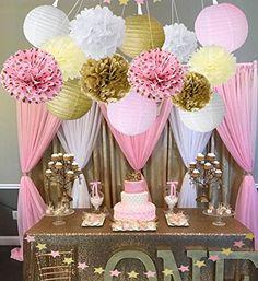 Wcaro Mixed Pink Gold White Party Decor Kit Paper lantern Paper Star Garland Tissue Pom Poms Hanging Flower Ball for Wedding,Birthday,Baby,Bridal Shower,Room decor