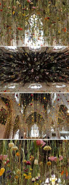INSTALLATIONS - Hanging Gardens by Rebecca Louise Law bringing a relationship of art and nature to everyone by making it immerseful Art Et Nature, Deco Nature, Deco Floral, Arte Floral, Art Public, Instalation Art, Drawn Art, 3d Fantasy, Flower Art