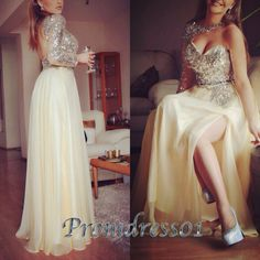 Unique beaded halter prom dress, sweetheart dress for teens, creamy white chiffon evening dress, side slit ball gown, modest dress from #promdress01 #promdress -> www.promdress01.c... #coniefox