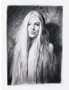 Mercedes-Helnwein-01 drawing long hair wallpaper
