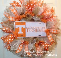 Buy University of Tennessee Ruffle Deco Mesh Wreath by decowreathcreations. Explore more products on http://decowreathcreations.etsy.com