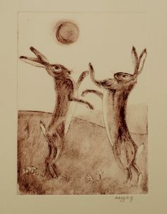 Boxing Hares Print Brown Hares Boxing Mad March by PrintsByMaggieg, £25.00