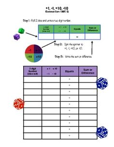 Here's an activity for Common Core standard 1.NBT.5 - Given a two-digit number, mentally find 10 more or 10 less than the number, without having to count; explain the reasoning used. Fun activity with dice rolling and a spinner!
