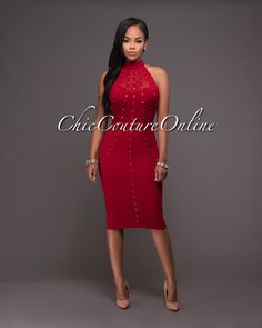 Chic Couture Online - Chiarina Wine Red Gold Stud Midi Dress.(http://www.chiccoutureonline.com/chiarina-wine-red-gold-stud-midi-dress/)