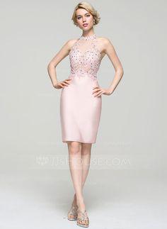 [€ 121.92] Vestido tubo Escote redondo Hasta la rodilla Jersey Baile de promoción con Cuentas Lentejuelas (016094598)