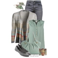 """""""Grays & Greens"""" by sassafrasgal on Polyvore  (iffy on the individual pieces, but I love the colors)"""