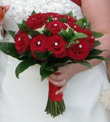Red Rose and Diamante Bouquet Posy