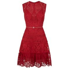 Elie Saab Sleeveless Lace Dress (100,735 MXN) ❤ liked on Polyvore featuring dresses, floral cocktail dress, red floral dress, a line dress, lace dress and floral print dress