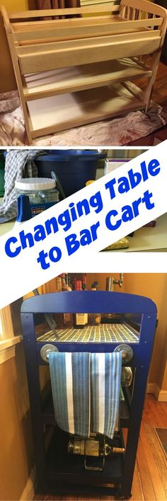 Thrift store baby changing table used to make a bar cart