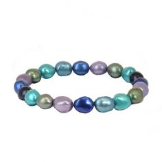 "SPCA Mother's Day Honora ""Peacock"" Violet, Pistachio, Indigo, Teal and Jet Pearl Stretch Bracelet."