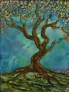 Alcohol Ink Painting - In Bloom by Ellen Starr