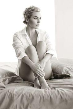 Kate Winslet. Classic white boyfriend shirt.