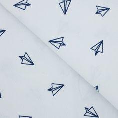 Tissu coton imprimé avion en papier blanc & bleu