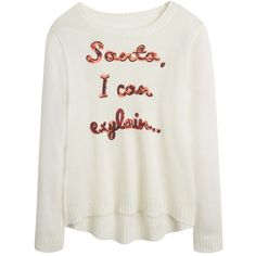 Christmas Santa I Can Explain Sweater ❤ liked on Polyvore featuring tops, sweaters, shirts, christmas sweater, women plus size tops, plus size sweaters, womens plus sweaters and womens plus tops
