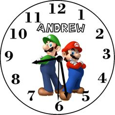 Super Mario Bros. Inspired Personalized Wall Clock Personalized Clocks, Super Mario Bros, Inspired, Wall, Room, Fictional Characters, Inspiration, Bedroom, Biblical Inspiration
