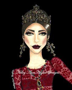 Dolce et Gabbana Couture bijoux rouge dentelle robe Couronne d'or rouge à lèvres Couture Fashion Illustration Art Print