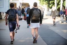"""French schoolboys wear skirts to defy sexism Students partake in """"Skirt Day"""" despite protests from conservative groups."""