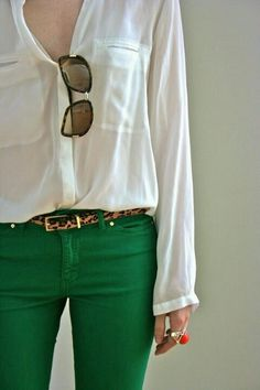 White with this seasons color, emerald green find more women fashion ideas on http://www.misspool.com find more women fashion ideas on www.misspool.com
