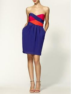 color-blocking is HOT this season, and i am totes loving it. . . . 'colorblock zoe silk dress' by shoshanna, piperlime.com