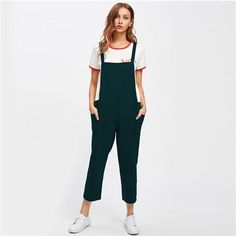 85d919c05cc Buy Casual Cotton Jumpsuit Long Suspender Twin Side Bib Wide Leg Overalls  Pants Large at Narvay