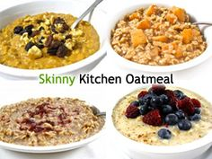 4 Skinny Oatmeal Recipes You'll Love! There's nothing quite like a warm bowl of homemade oatmeal in the morning. It's hearty, super healthy, fiber rich and just plain good. I'm sharing my 4 favorite ways to make it! http://www.skinnykitchen.com/recipes/4-skinny-oatmeal-recipes-youll-love/