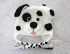 Dalmatian Dog Hat Crochet Pattern (FREE) - http://pinterest.com/Allcrochet
