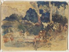 Paul Gauguin,Tahitian Landscape (recto), c.1894  Mixed media, monoprint and watercolour (recto); charcoal and red pencil (verso) on wove paper, Art Gallery of Ontario