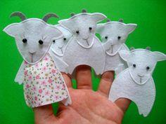 Волк и семеро козлят – Shill O'POP – Игрушки со смыслом Finger Puppet Patterns, Felt Books, Felt Patterns, Busy Book, Diy Toys, Nursery Rhymes, Handmade Toys, Felt Crafts, Puppets