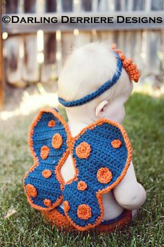 Crochet Butterfly Wings, Diaper Cover, And Headband Pattern on . This is a pay pattern, but this could be a source of inspiration as well.