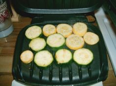 Grilling veggies on George Foreman Grill - no idea why I've never thought about doing this!