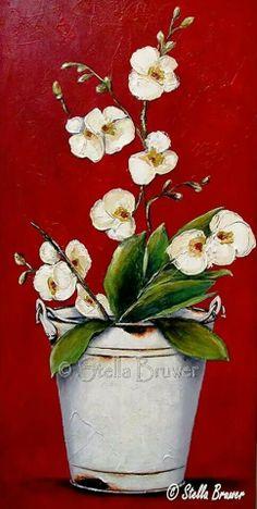 ORQUIDEAS Y CUBO Stella Bruwer Stella Art, Rock Flowers, Art Themes, Animal Paintings, Beautiful Paintings, Painting Inspiration, Diy Art, Painted Rocks, Flower Art