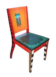 Whimsical painted London style chair by ChuckPetersonDesigns, $550.00