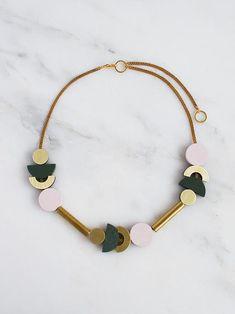 Luna I Necklace - Powder Pink/Spruce Green