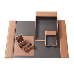 An organized desk is the perfect setting for a productive day. Clear the clutter with personalized leather desk accessories such as a leather desk pad and desk card holder. Leather Desk Pad, Leather Box, Small Leather Goods, Brown Leather, Office Org, Office Essentials, Desk Set, Desk Organization, Desk Accessories
