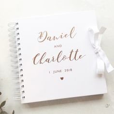 Personalised guesbook in copper and white. By Laura Godbold Design