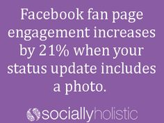 Facebook fan page engagement increases by 21% when your status update includes a photo. #Socialmedia