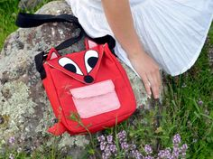 Little Red Fox with striped pocket, small messenger bag, cute purse - etsy