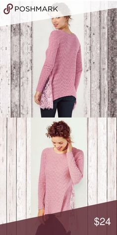 New pink tunic sweater Lauren Conrad LC Rose New with Tags. Lauren Conrad. Pink dusty rose color. 90% cotton, 10% Nylon with Lace. Asymmetrical tunic hemline with it being longer on the sides.  Will provide measurements upon request! LC Lauren Conrad Sweaters Crew & Scoop Necks