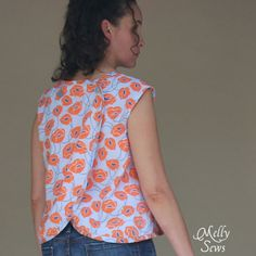 Easy to Sew Crossback Top for Summer by Melly Sews featuring Modern Yardage fabric - free pattern!