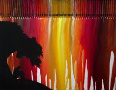 sunset melted crayon art